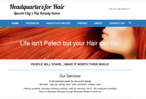Headquarters For Hair home page image and text