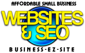 Businessezsite logo black, and yellow font with a globe in the back ground in blue and green