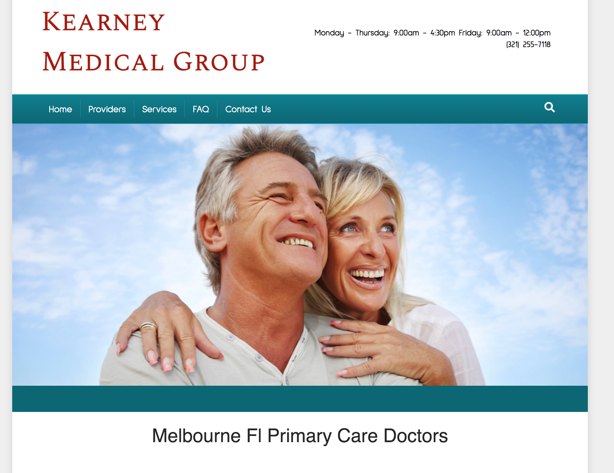 Kearney Medical Group Home page text with middle -aged couple smiling