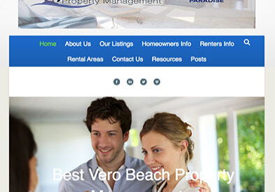 Team Paradise Property management home page with image and text